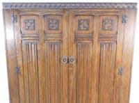 Wardrobe Large Antique Style Carved Oak Two Door Panelled Robe - SOLD